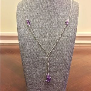 Amethyst Silver Tone Lariat Chain Necklace